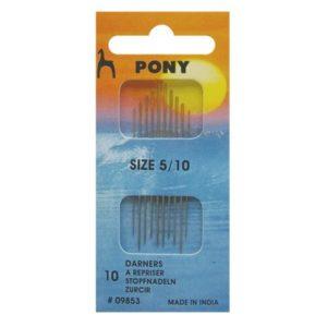 PONY 09853 Игли за за шев, златно ухо, № 5-10