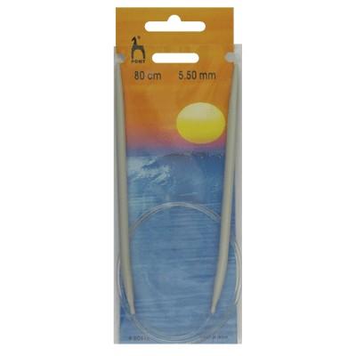 PONY 50612 Обръч за плетене, алуминий, 80 см, №5.5