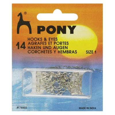 PONY 78502 Телени копчета никел №1, 14 бр