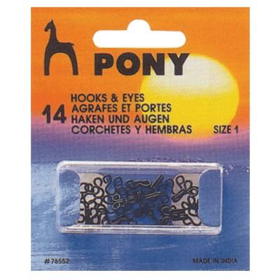 PONY 78552 Телени копчета черни №1, 14 бр