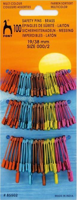 PONY 85502 Безопасни игли цветни 19/38 мм, 100 бр
