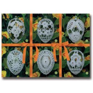 002006 Комплект 6 яйца оранжева панделка, акрил, малки