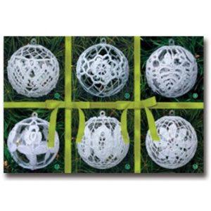 002007 Комплект 6 топки зелена панделка, акрил, малки