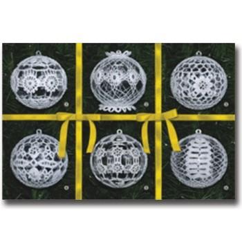 002008 Комплект 6 топки жълта панделка, акрил, средни
