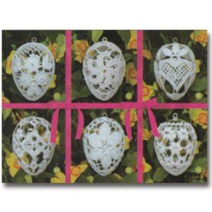 002015 Комплект 6 яйца розова панделка, акрил, големи